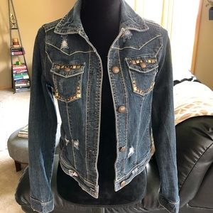 Vanity Distressed & Embellished Denim Jacket Sz M